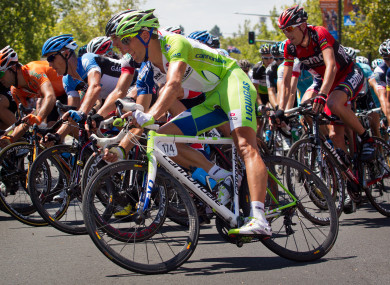 Jan. 2012: Kristijan Koren (front) rides in the peloton during stage six of Tour Down Under.