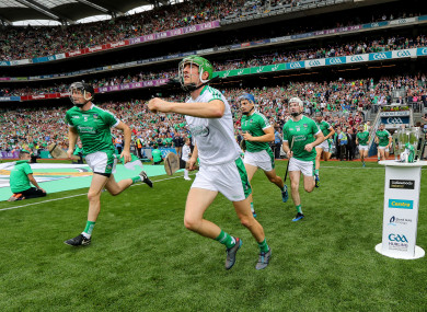 Limerick make their way out onto the pitch at Croke Park.