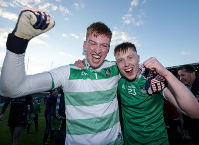 Limerick goalkeeper Donal O'Sullivan celebrates their victory with Padraig De Brún.
