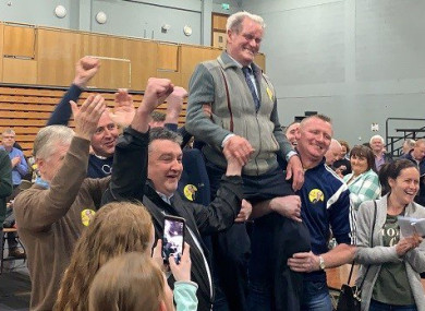 88-year old Ian McGarvey celebrates following his election today.