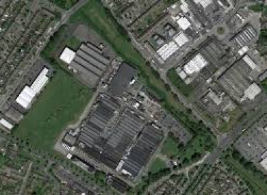 The factory site and surrounding area.