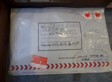 The parcel bomb discovered at an An Post centre in Limerick in March.