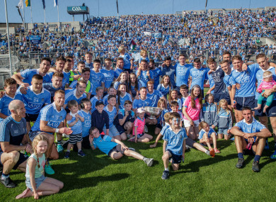 The Dublin squad celebrate last summer's Leinster final victory.