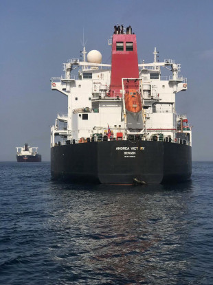 Norwegian-flagged oil tanker MT Andrea Victory off the coast of Fujairah.