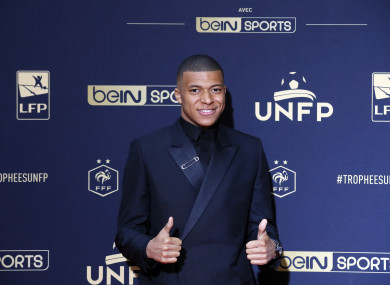 Mbappe at the Union of French Professional Footballers ceremony in Paris on Sunday.