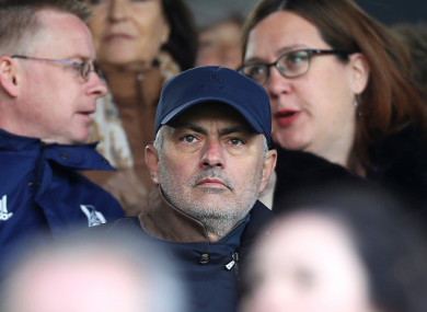 Mourinho pictured in the stands watching Fulham against Everton last month.