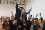 Jackie Healy-Rae celebrates with his supporters after being elected to Kerry County Council.