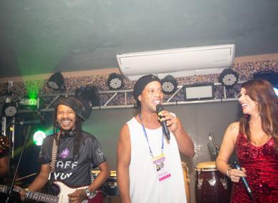 Ronaldinho, centre, pictured performing in Rio last March.