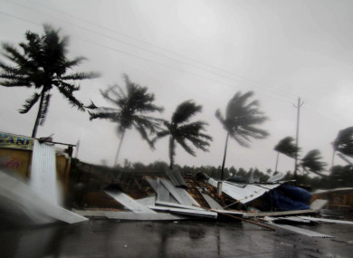 Street shops are seen collapsed due to gusty winds preceding the landfall of cyclone Fani on the outskirts of Puri, in the Indian state of Odisha.