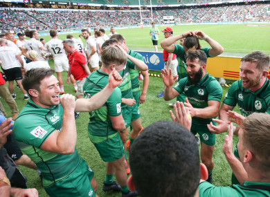 Captain Billy Dardis leads the celebrations after Ireland beat England to seal bronze at last year's tournament.