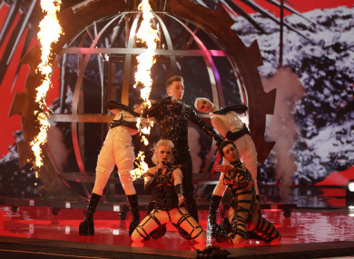 Hatari of Iceland perform during the 2019 Eurovision Song Contest semi-final in Tel Aviv,