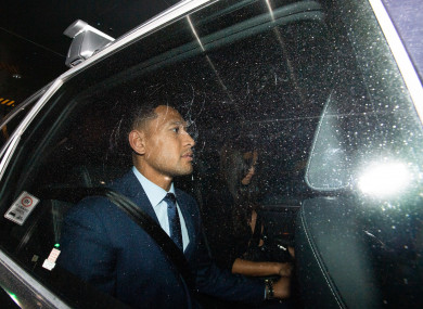 Folau leaves his code of conduct hearing.