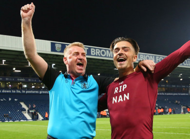 Celebrations: Dean Smith and Jack Grealish.