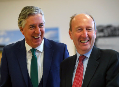 Former CEO of the FAI John Delaney with Minister Shane Ross in November 2016.