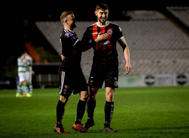 Bohemians' Keith Ward and Aaron Barry (right) celebrate a goal.