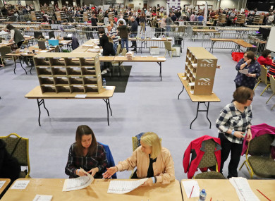 The count centre at City West yesterday