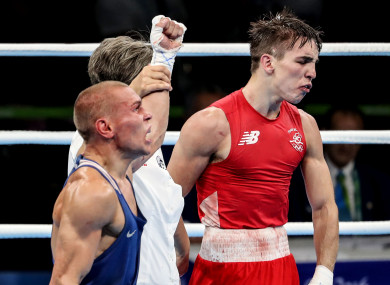 Michael Conlan is left disgusted as Vladimir Nikitin is given a contentious decision in their Olympic quarter-final in 2016.