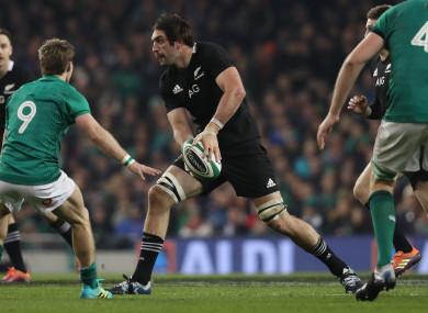Sam Whitelock in possession for New Zealand during last November's game against Ireland at the Aviva Stadium.