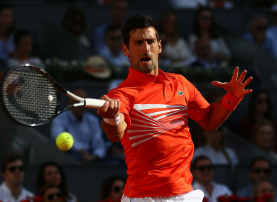 Novak Djokovic in action at the Madrid Open.