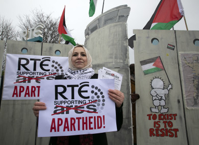 Pictured National Chairperson Ireland Palestine Solidarity Campaign Fatin Al Tamimi people demonstrated out RTE Studios in March