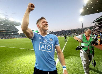 Flynn celebrates beating Mayo in the 2016 All-Ireland football final replay.