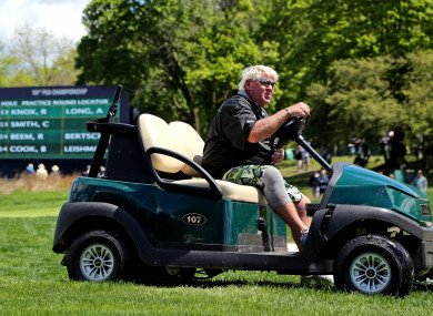 John Daly pictured with the cart during a practice round at the US PGA Championship.