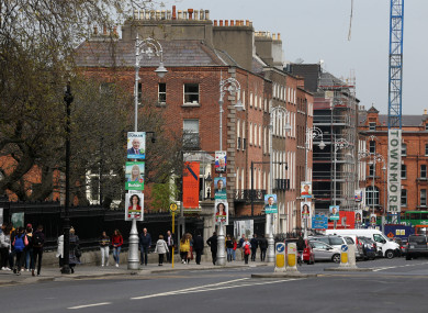 A variety of election posters in Dublin city centre.