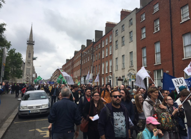 Crowds on Parnell Square this afternoon