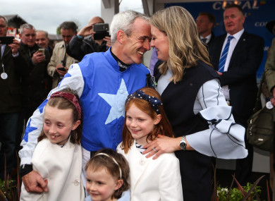 Ruby Walsh with his wife Gillian and daughters Isabelle, Elsa and Gemma after announcing his retirement.