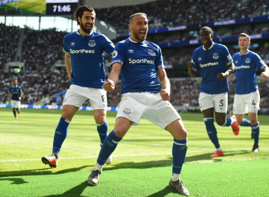 Everton's Cenk Tosun celebrates scoring their second goal.