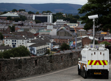 A PSNI vehicle looks down over Derry city. (File photo)
