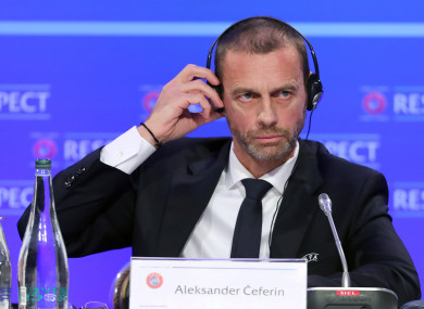 Aleksander Ceferin pictured during the Nations League draw in Dublin.