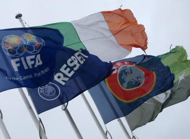 Flags flying outside the FAI offices in Abbottstown.