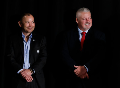 Eddie Jones and Warren Gatland at the launch of the 2019 Six Nations.