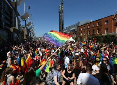 Participants gather in Smithfield during the gay pride parade last year.