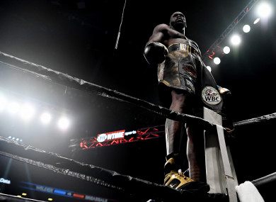 Deontay Wilder celebrates his first-round knockout of Dominic Breazeale.