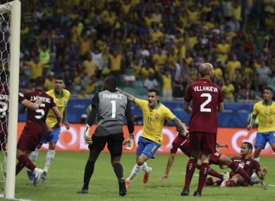 Coutinho celebrates but Brazil's joy was short-lived.