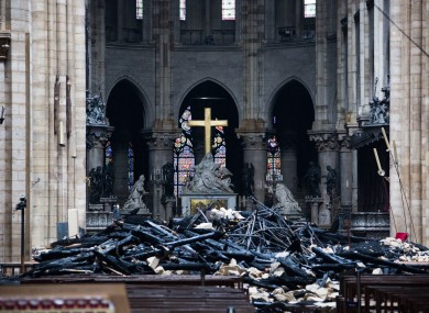 Inside the cathedral after the fire.