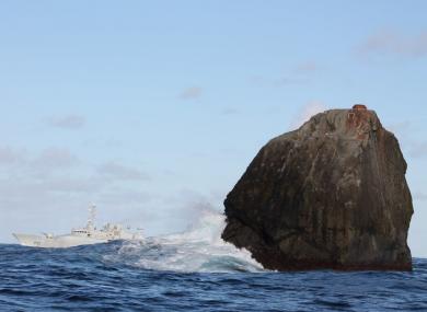 The Irish Naval Service vessel, LÉ Róisín, on routine patrol at Rockall