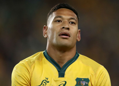Fired: Australia full-back Israel Folau.