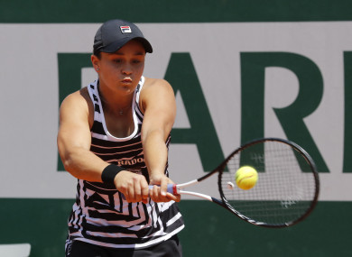 Australia's Ashleigh Barty pictured at Roland Garros.