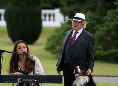 President Michael D Higgins in the grounds of Áras an Uachtarain in 2017 during a celebration of the creative arts.