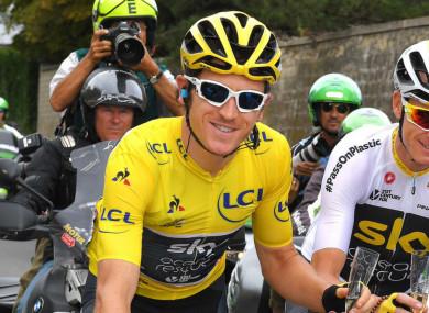 Tour de France champion Geraint Thomas (centre).