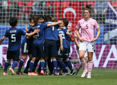 Scotland's Jenny Beattie appears dejected after her side concede their second goal of the match.