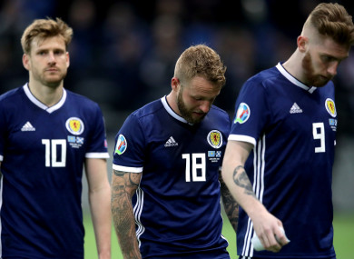 Scotland's Stuart Armstrong (left to right), Johnny Russell and Oliver McBurnie.