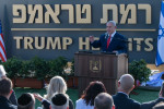 Israeli Prime Minister Benjamin Netanyahu at the ceremony unveiling Trump Heights.