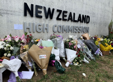 A memorial in Canberra to the victims of the shooting.