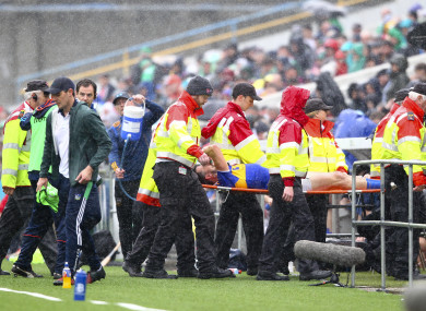 Fears: Patrick 'Bonner' Maher is stretchered off.