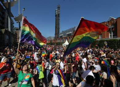 Crowds at the Pride Parade in Dublin last year.