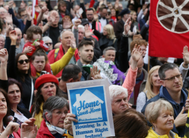 Housing protesters on Dublin's O'Connell Street in May.